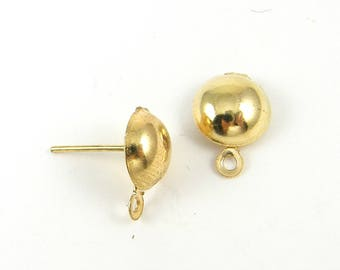 12 Pcs Gold Half Ball Earring Post with Loop, 8mm Round Post Earring Finding Circle Stud Earring Jewelry Supply |G21-13|12