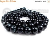 "40% Retirement Closeout - Stormy Night, Black with Gray Splatter, Painted Glass, 8mm Round, 15"" Strand, 8S-GLBLMO-015-001"