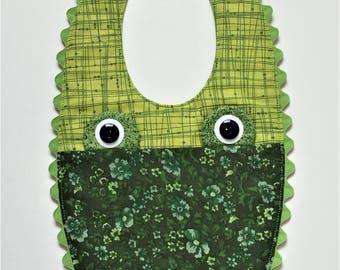 Baby Bib Green Alligator Motif