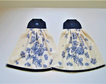 Button On Hand Towel Set in Blue and Cream (Set of 2)