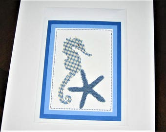 Greeting Card Mixed Media Seahorse Starfish