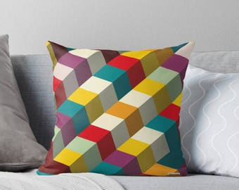 Decorative throw pillow cover - Colorful pillow cover - Geometric pillow - Decorative pillow