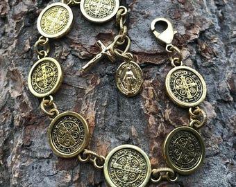 Antique Gold St. Benedict 7's Bracelet