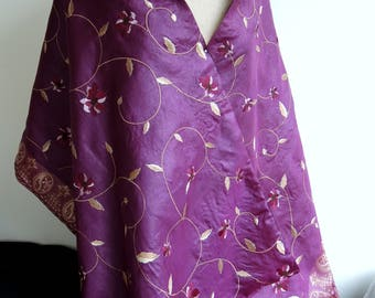 NEW Mulberry sari silk opera wrap -Ready to ship large scarf upcycled saree textile fully lined- aubergine purple & gold flowers OOAK unique
