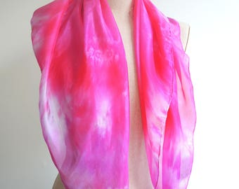 NEW In the Pink large Silk scarf - hand-dyed fuchsia lipstick and white square- unique wearable art OOAK ready to ship