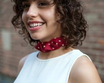 Necktie Choker - Silk Choker - Secret Santa - Fabric Choker - Necktie Necklace - Hipster Clothing - Red Polka Dot Isabella Choker. 20