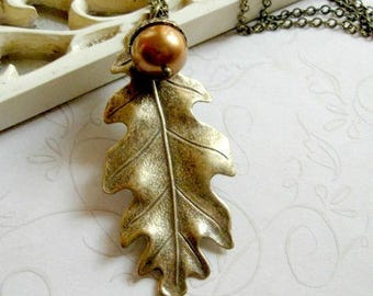 Oak leaf necklace, long brass chain, nature jewelry, womens gift, woodland acorn necklace, black friday sale