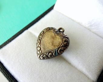 Victorian Repousse Puffy Heart Sterling Silver Charm