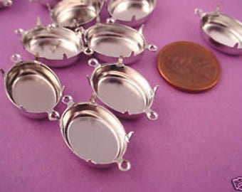 12 Silver Tone Oval Prong Setting Connectors 18x13 2 Ring Closed Backs