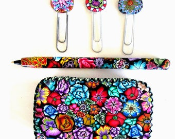 Tin trinket box with pen and clips or bookmarks Millefiori polymer clay design T35