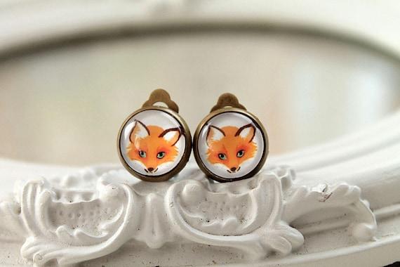 Pretty fox earrings sweet lolita feminine clip on  orange fall autumn