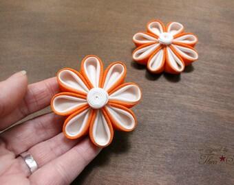 Orange and White | Kanzashi Flower Hair Clip
