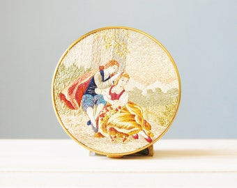 Vintage 1950s Embroidered Petit Point Schildkraut Compact with Courting Couple