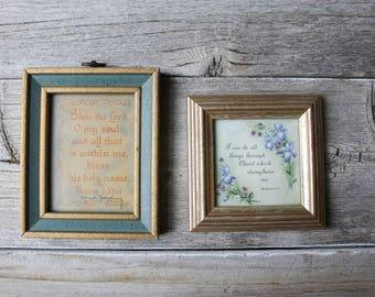 Scripture Print, Set of two, Psalms, Christian Wall Decor, Vintage Art, Vintage Framed Art, Vintage wall decor, framed print