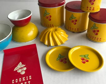 Red Cherries - Vintage Toy Kitchen Ware - Canisters - Bowls - Bake Ware & More - The Cutest Vintage Cookie Sheet Ever !