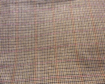 4 1/2 Yards of Vintage Brown Houndstooth Wool Blend Look Synthetic Fabric