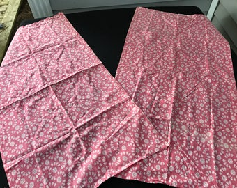 Pair of Vintage Pink with White Flowers Feedsack Fabric Kitchen Towels
