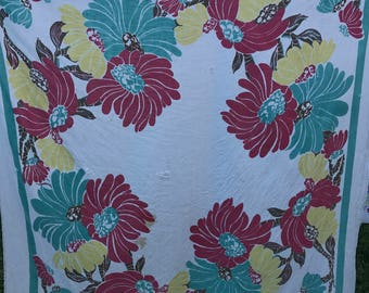 Vintage White with Red, Green, Yellow and Brown Floral Print Cutter Tablecloth