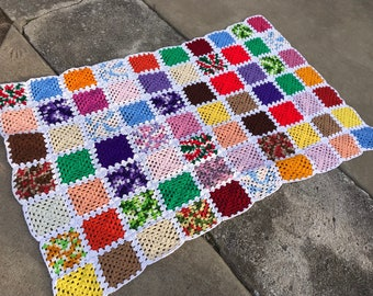 Vintage Hand Crochet Granny Square Afghan Set in White with Colorful Squares