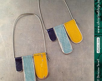 Blue, Slate & Yellow Arched Dangles--Upcycled Tin Earrings