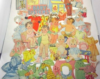 Vintage 1930s Baby Sisters and More Girl and Boy Paper Dolls and 39 Outfits and 8 Accessories