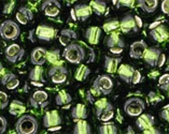 TOHO Japanese Seed Beads - Round 8/0 : 37 Silver-Lined Olivine - choose your gram weight