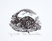 BLACK FRIDAY Turtle Art Print, Original Hand Pulled Engraving