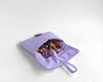 cute earbud pouch. case for rosary. cute lavender small fabric padded ear bud case.  first communion gift girl