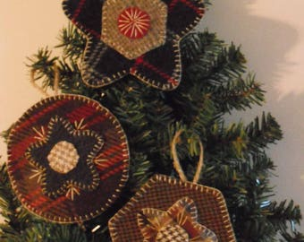 Wool Penny Rug Ornament Kit-Set of 3-Wool Embroidery