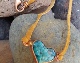 Copper Heart Necklace  -  Blue Green Turquoise - Choker - Tan Leather - Rustic Jewelry by Heart of a Cowgirl