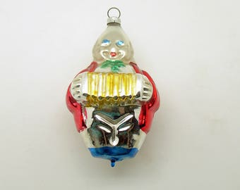 Vintage Christmas Glass Ornament Clown Accordion