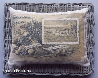 "Thanksgiving Canvas Throw Pillow Vintage Postcard Graphics 11"" X 8"" Folk Art Primitive Rustic Harvest Cornucopia Wheat Sheaves Autumn Decor"