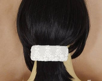 CLEARANCE - Ivory/taupe hair barrette, lace barrette, embellished barrette, bridal barrette, fabric barrette, hair accessory, fashion access