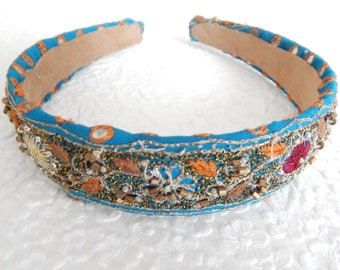 Thin blue beaded embroidered fabric headbands for women,  1 inch headbands