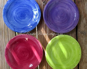 Made to order in sets of four colorful ceramic pottery dinner plates tableware kiln fired food safe tableware rustic pottery mix and match