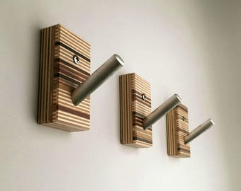 Wall Hooks, Wood, Metal, Modern Home, Bath, Home Organization, Housewarming, Recycled Wood