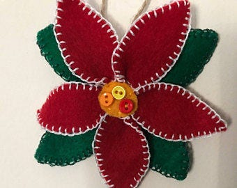 PATTERN Felt Poinsettia Ornament