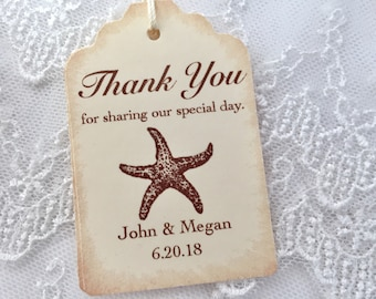 Starfish Tags, Beach Wedding Favor Tags, Personalized Set of 10