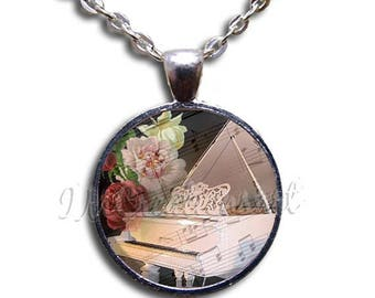 20% OFF - White Piano Music Glass Dome Pendant or with Chain Link Necklace PR105