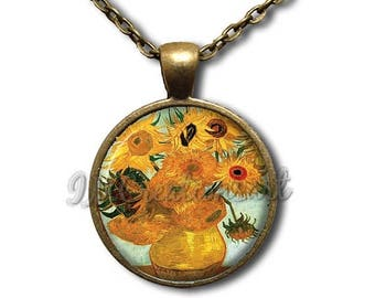 25% OFF - Van Gogh's Sunflowers Glass Pendant Necklace Square Round AP163