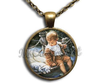 25% OFF - Gone Fishing Vintage Art Glass Dome Pendant or with Chain Link Necklace AP139
