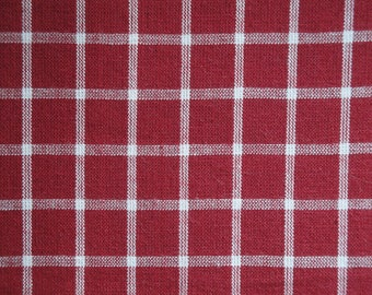 Homespun Material | Cotton Material | Primitive Material | Wine And White Windowpane Plaid Material | Quilt Material | Home Decor Material