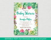 Succulent Baby Shower Inv...