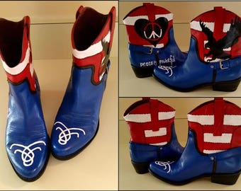 Clearance, Leather Boots, Patriotic, Womens Boots, 4th of July, Memorial Day, Veterans, Hippie, Stars and Stripes, Womens size 8