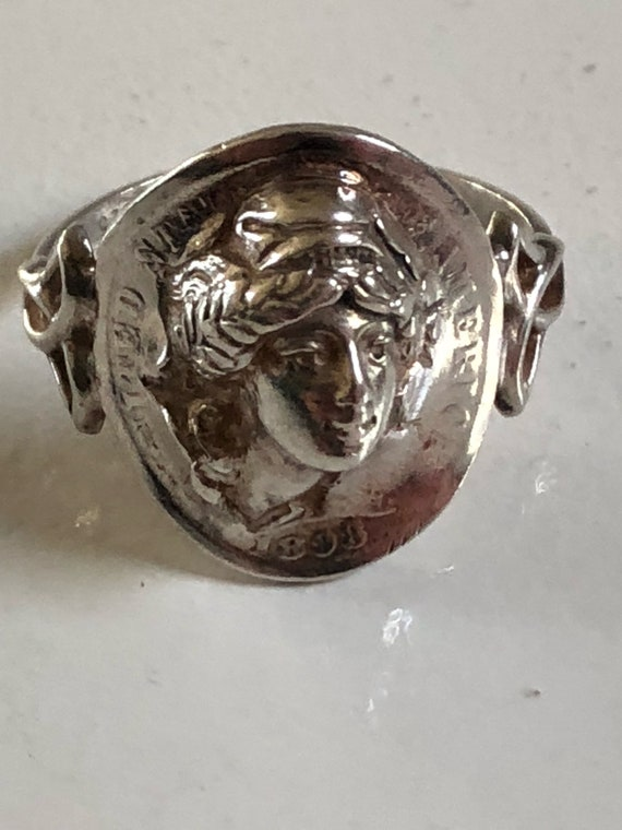 Sterling Art Deco Popout 1898 Dime Ring (size 8)