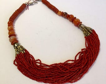 Multistrand Faux Coral Necklace with  Carnelian, and Agate Beads  Vintage