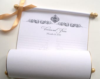 Wedding guests scroll, wedding ceremony guest book, guest list scroll, custom sign-in scroll