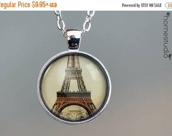 ON SALE - Eiffel Tower : Glass Dome Necklace, Pendant or Keychain Key Ring. Gift Present metal round art photo jewelry by HomeStudio