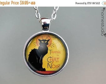 ON SALE - Chat Noir : Glass Dome Necklace, Pendant or Keychain Key Ring. Gift Present metal round art photo jewelry by HomeStudio