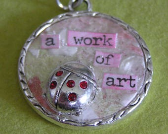 Mixed Media Silver Pendant with Ladybug and Crystals